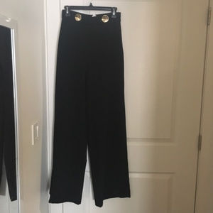 Zara black wide leg pants with gold buttons